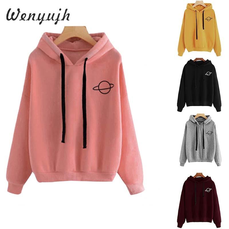 WENYUJH  Women Hoodies Casual Kpop Planet Print Solid Loose Drawstring Sweatshirt Long Sleeve Hooded 2020 Autumn Female Pullover