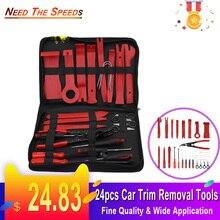 24pcs Car Trim Removal Tools Kit Auto Panel Dash Audio Radio Removal Installer Repair Pry Tools Kit Fastener Removal Storage bag