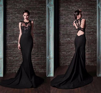 Party Gowns Elegant Mermaid Long Evening Dresses Lace Applique Robe De Soiree Longue Formal Evening Gown fashion ivory mermaid long evening dresses women 2019 evening gown scoop stretch fabric lace zipper sleeveles formal party dress