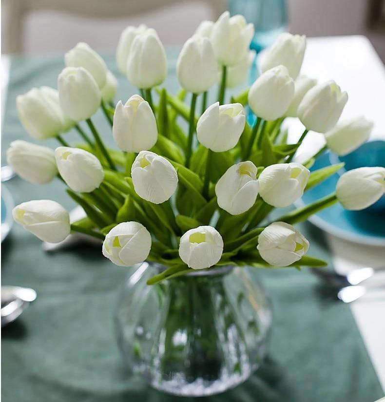 31 Artificial Flower Branch Tulip White Flowers Wedding Decoration Vase Leaf Latex Branches