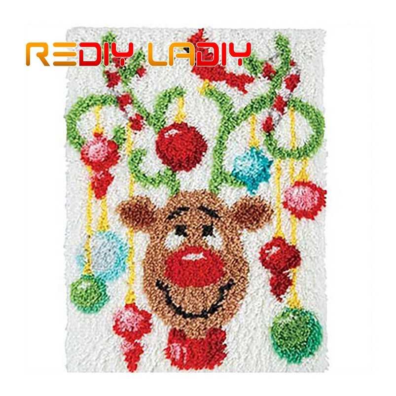 Latch Hook Rug Kits Christmas Deer Mat Crocheting Carpet Rug 100 Acrylic Yarn Sofa Cushion Mat Diy Carpet Rug Home Decor Crafts Aliexpress