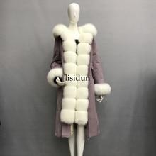 2019 Real fur coat fox parkas winter jacket coat women parka big real raccoon fur collar natural fox fur liner long outerwear цены онлайн