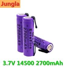 Novo 14500 bateria de lítio 3.7v 2700mah baterias recarregáveis de soldagem níquel folha bateria para tocha led lanterna brinquedo