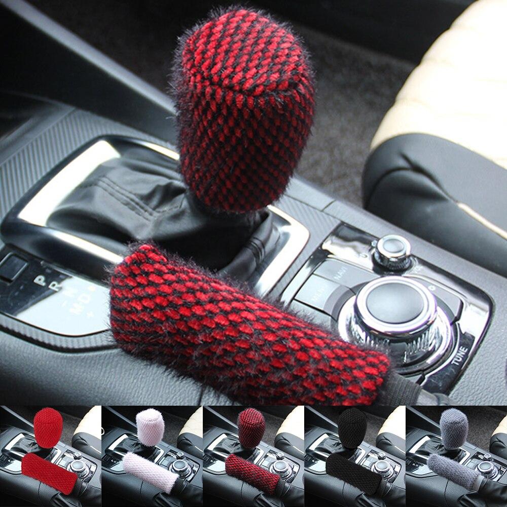 Car-styling Winter Warm 2pcs/set Car Handbrake Covers Sleeve Hand Brake Gear Shift Knob Cover Universal Handbrake Grips