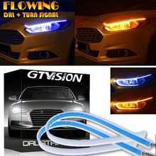 1Pc Ultra Thin Car LED Headlight Daytime Running Light Eyebrow Strip Blue/Amber 3744LM Universal