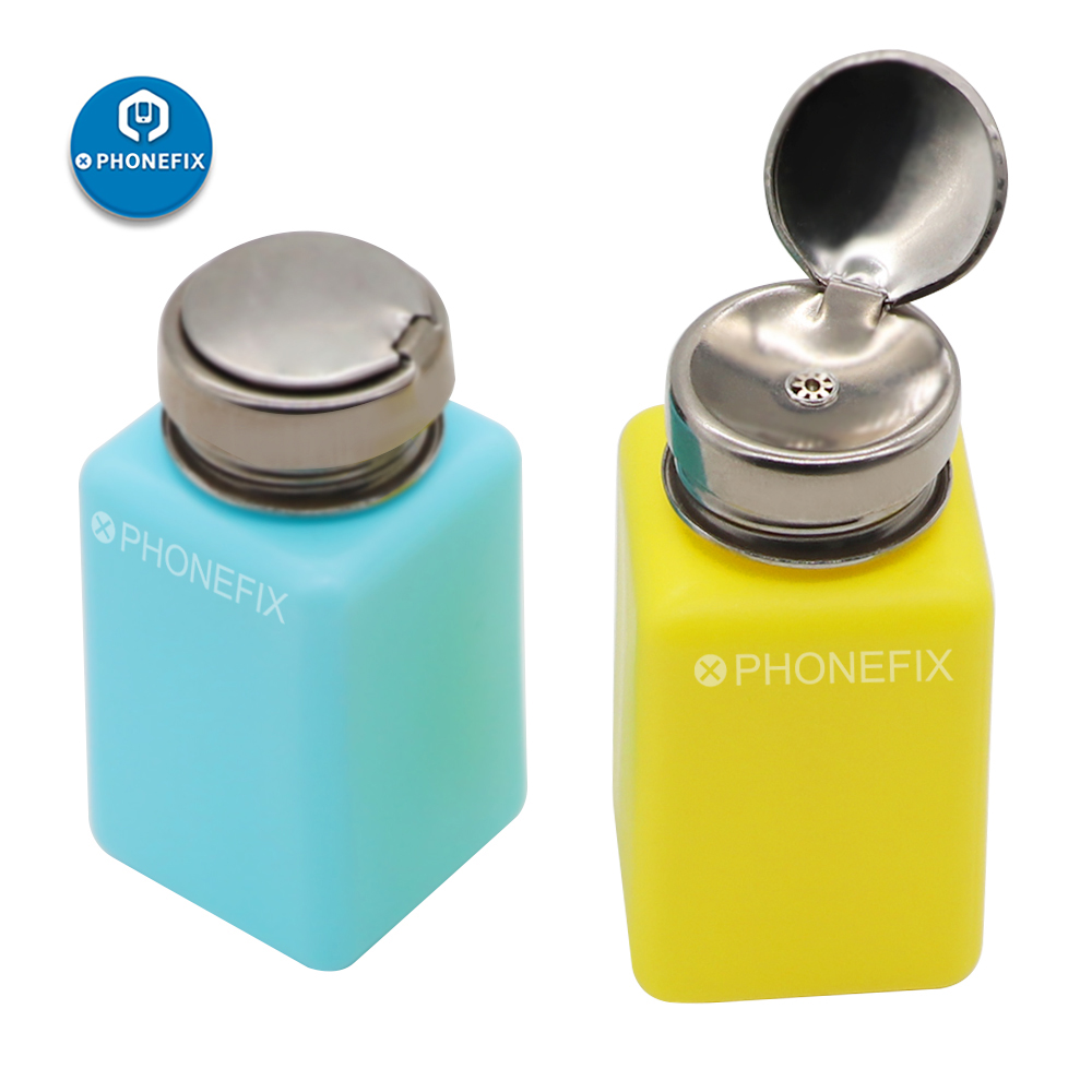 PHONEFIX Blue/Yellow Liquid Alcohol Press Nail Polish Remover Dispenser Cleaner Pumping Bottle 180ML For Cell Phone Repair Tool