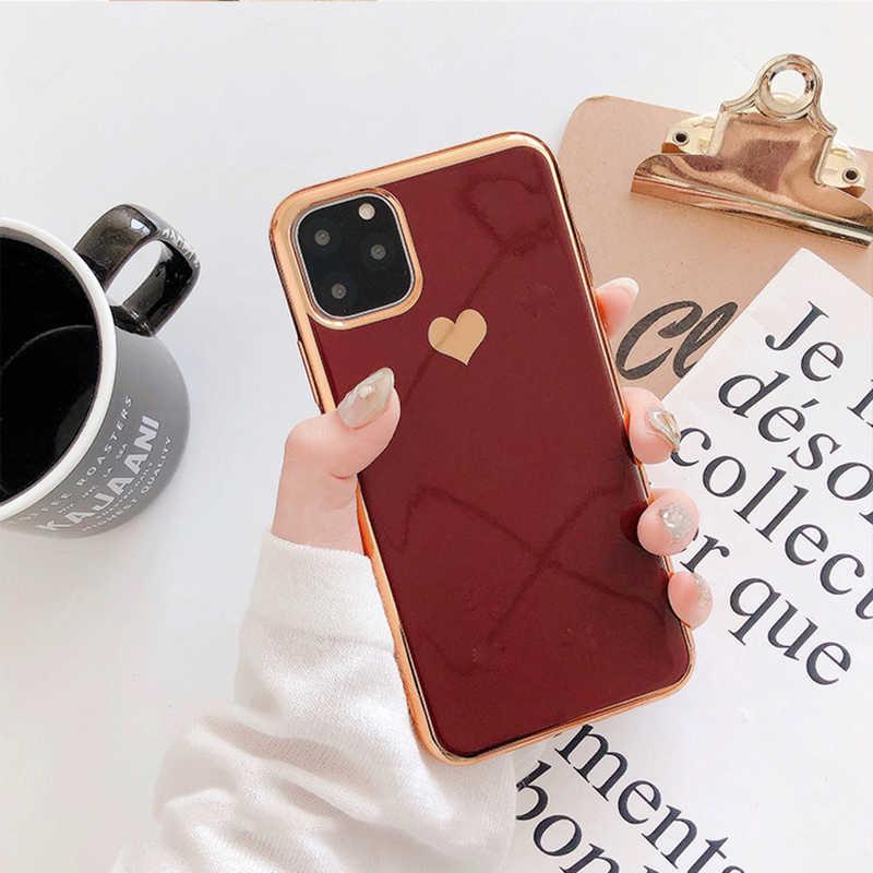 Lovecom Ốp Điện Thoại Cho Iphone 11 Pro Max XR XS Max 6 6S 7 8 Plus X Đồng Màu mạ Điện Tim Mềm TPU Bao Coque