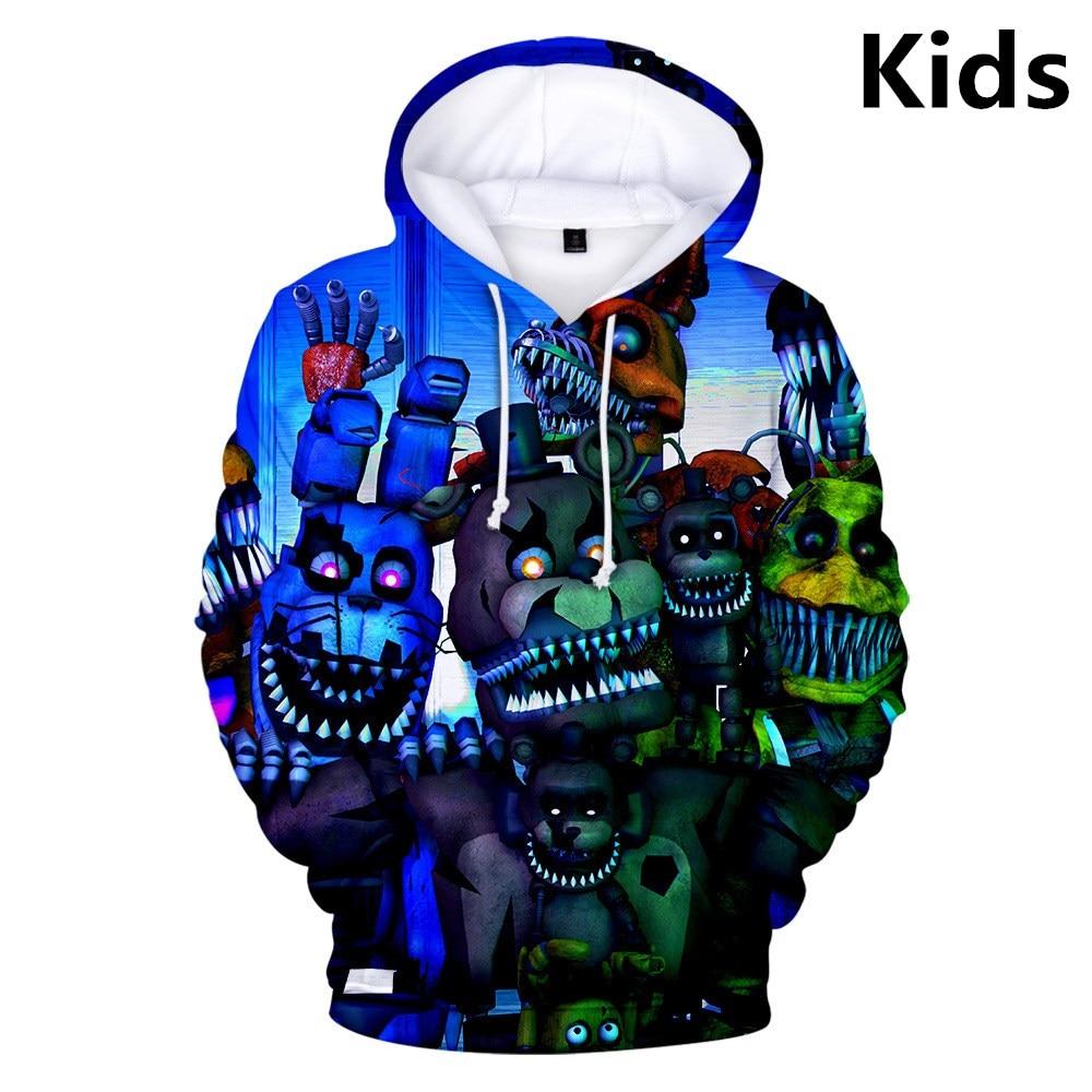 3 To 14 Years Kids Hoodies Five Nights At Freddy's FNAF Hoodie Sweatshirt Boys Girls Harajuku Streetwear Jacket Children Clothes