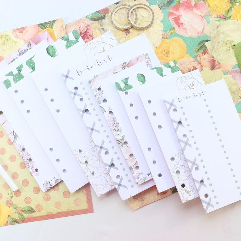 Domikee New Cute Office School Filling Paper Sheets For 6 Rings Binder Spiral Planner Notebook Stationery Supplies A5A6 25sheets