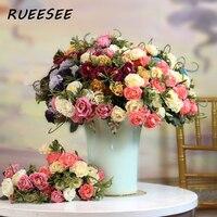 Künstliche Blumen 28cm Herbst Blätter Tee Rose Blume Wohnzimmer Blume Anordnung Retro Europäischen Stil Hochzeit Dekoration