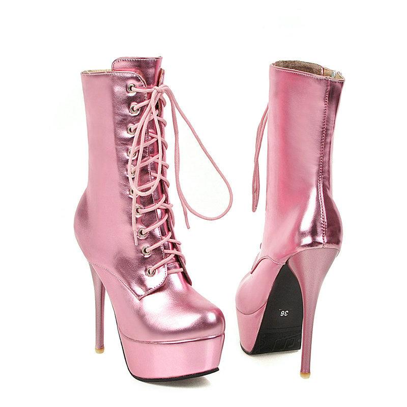 Gold 2019 Women Boots Fashion Zipper Ankle Boots Women Platform Martin Boots Sexy Super High Heel Round Toe Autumn Winter Shoes