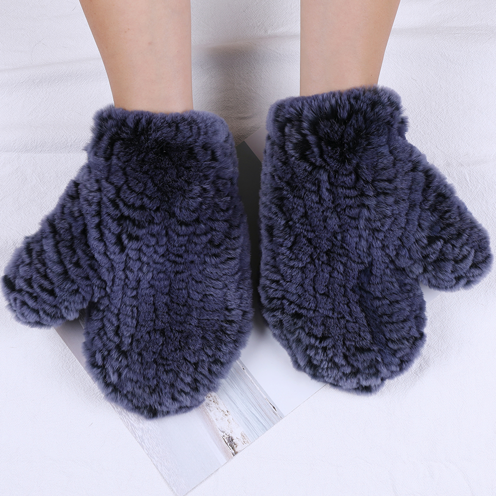 Women's Winter Real Rex Rabbit Fur Wrist Gloves Warm Thick Ladies Fur Mittens Elastic Girls Snow Ski Glove Mitts Elastic Soft