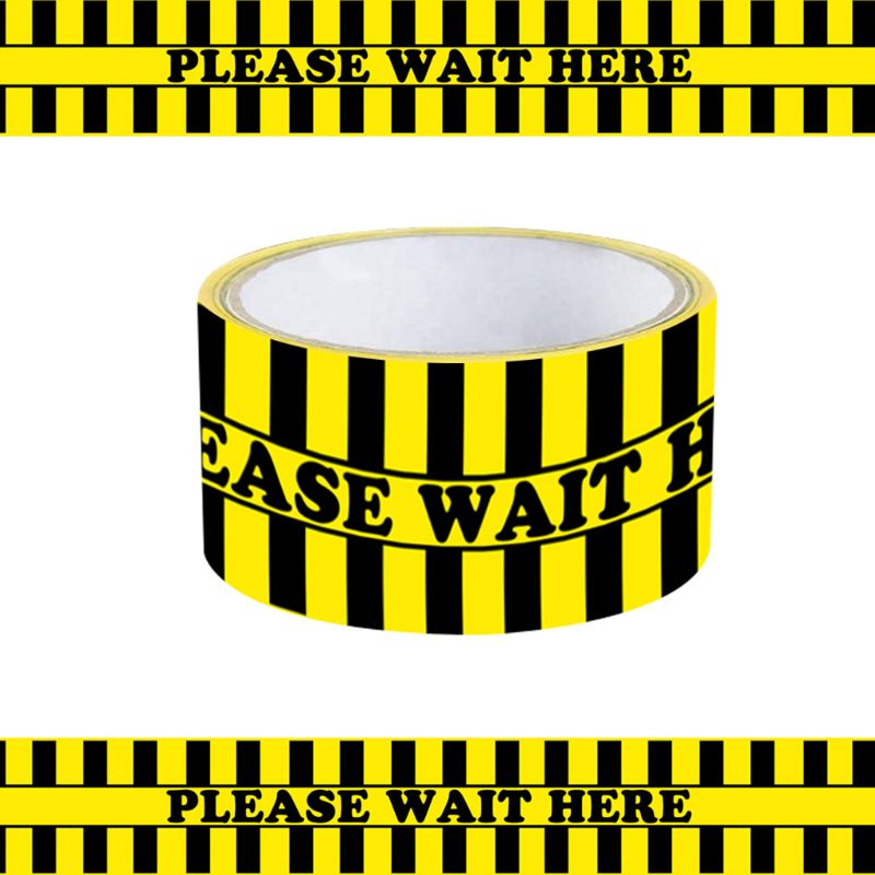 1Roll Please Wait Here Warning Floor Tape Social Distancing Marking Tape Yellow 48mm x 33m