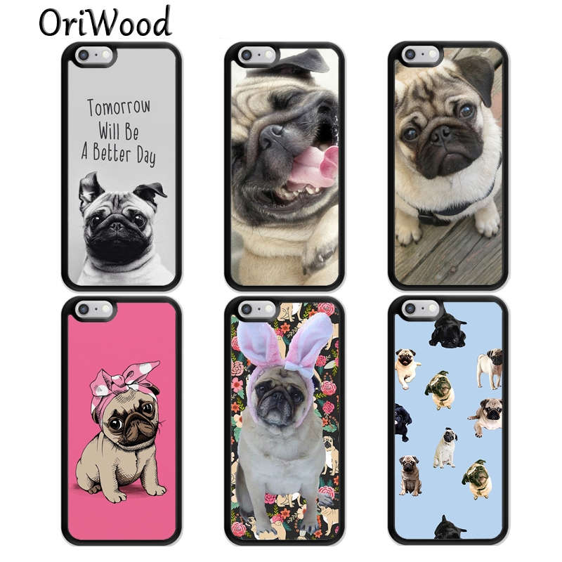 OriWood CUTE PUPPY PUG DOG MOPS TPU Phone Case For iPhone X XR XS MAX 6S 6 7 8 Plus 5S SE Rubber Bcak Cover Coque Shell