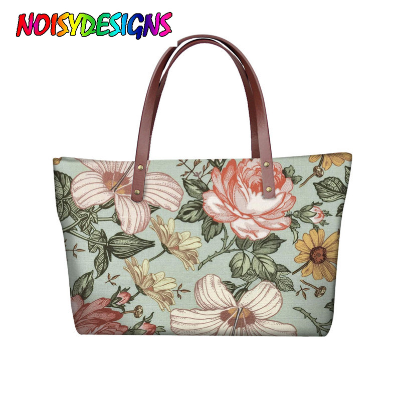 NOISYDESIGNS Stylish Casual Floral Shoulder Bags Red Rose Print Women Pretty Handbag Neoprene Ladies Beach Handbag Bolsa