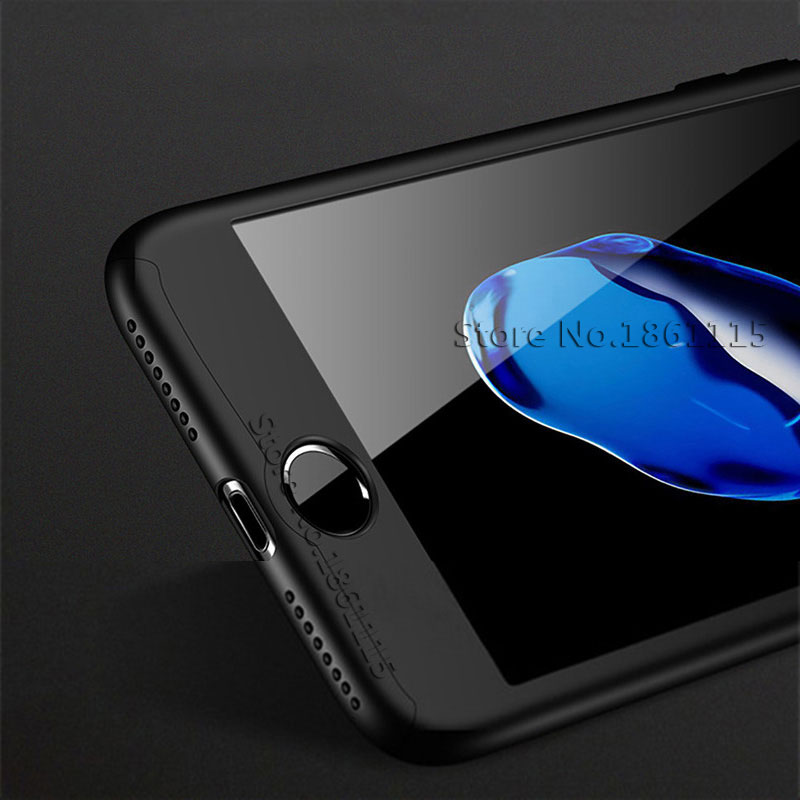 360 Degree Full Cover Phone Shell With Tempered Glass Case For iPhone Models 5