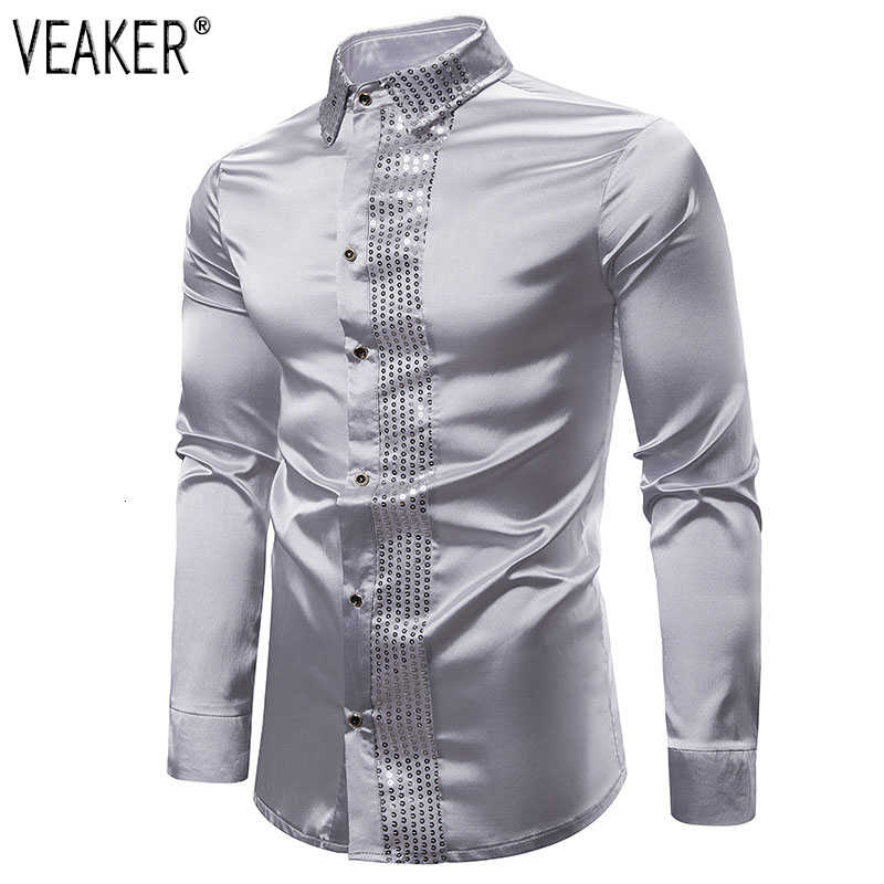 2019 New Men's Silk Satin Shiny Shirts Male Slim Fit Long Sleeve Sequin Patchwork Party Nightclub Wedding Shirt S-2XL