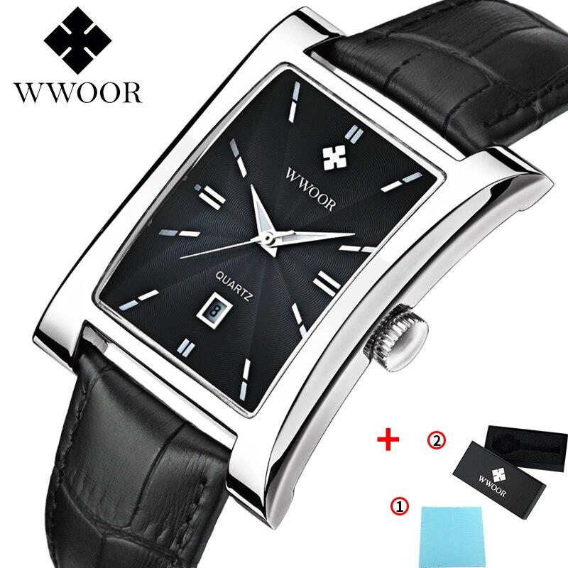 WWOOR Watch Men Top Brand Luxury Gold Black Square Watches For Men Leather Waterproof Date Clock Business Quartz Wrist Watch Box 9