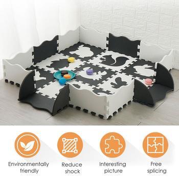Alfombra para gatear para bebé, juego de puzle, azulejos de espuma, alfombra...