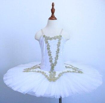 White Swan Lake Ballet pattern Tutu Costume Girls Children Ballerina Dress For Kids pancake Dancewear