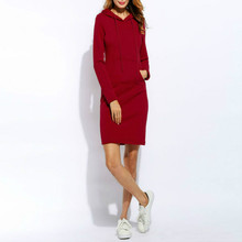 Winter Women Fashion  Full Sleeves Fleeces Hooded Drawstring Plus Size Dress Women Vestidos Hoodies Sweatshirt Dress drawstring plus size cowl neck sweatshirt