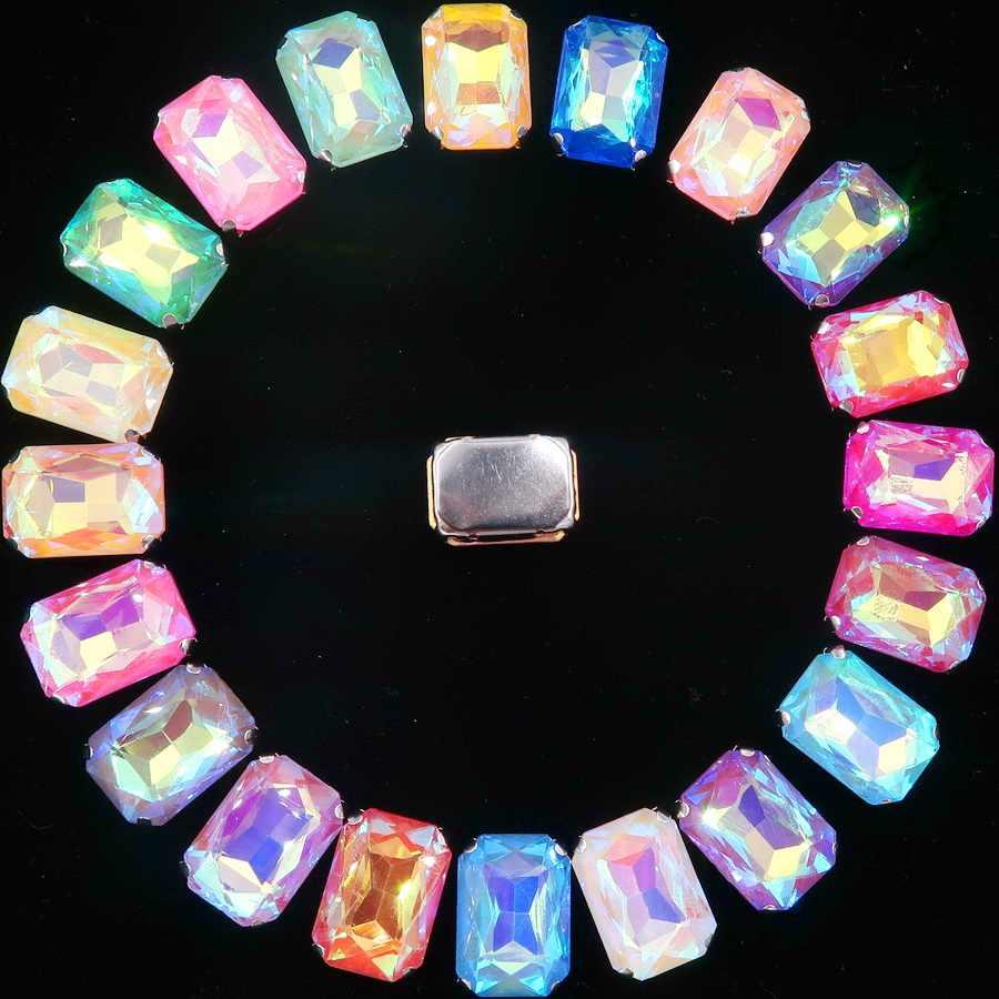 Silver claw การตั้งค่า 20 ชิ้น/แพ็ค 13x18 มม.jelly candy & AB สีแก้วคริสตัลรูปสี่เหลี่ยมผืนผ้าเย็บบน rhinestone แต่งงานชุด diy