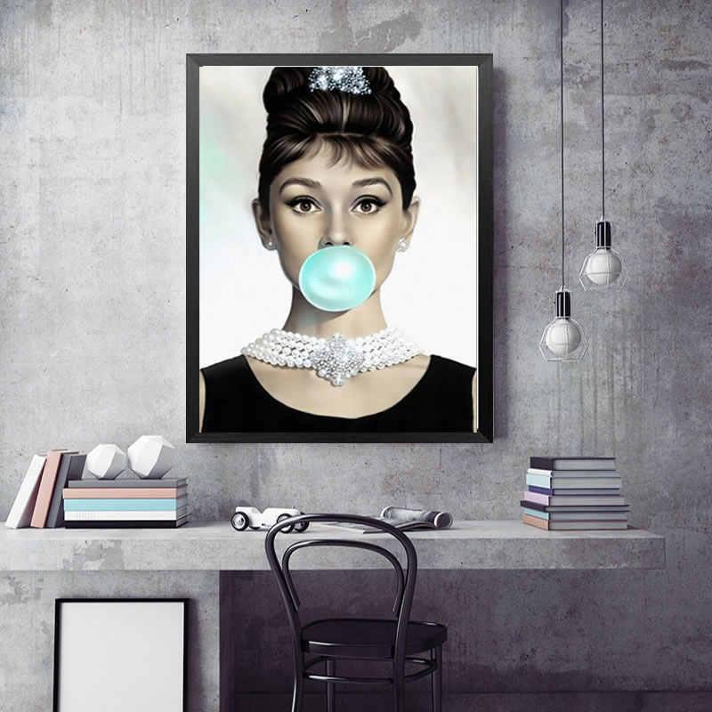 مارلين مونرو أودري هيبورن يقتبس قماش اللوحة يطبع الملصقات جدار صور لغرفة المعيشة جدار ديكور فني للمنزل لا الإطار