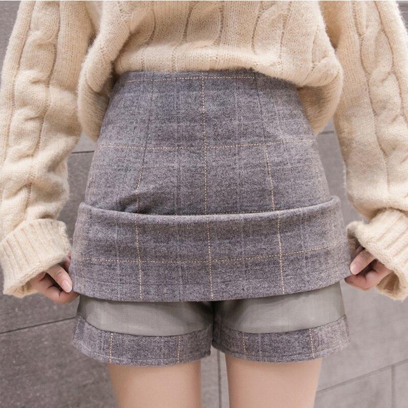 Engrossar As Mulheres Saia de Lã Outono Inverno Hight Cintura Mini Saias Xadrez Feminino Quente Botas De Lã Saia Faldas Plus Size Jupe femme