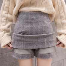 Thicken Woolen Skirt Women Autumn Winter Hight Waist Mini Plaid Skirts