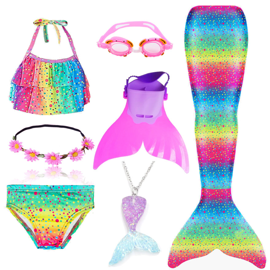 H6abc7698094e43dd9a9ad56f0083369cW - Kids Swimmable Mermaid Tail for Girls Swimming Bating Suit Mermaid Costume Swimsuit can add Monofin Fin Goggle with Garland