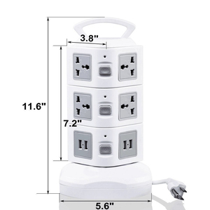 Image 3 - Tower Power Strip Surge Protector Vertical Multi Sockets 7/11/15/19 Way Universal Outlets Plug Socket 2 USB 3m Extention Cord