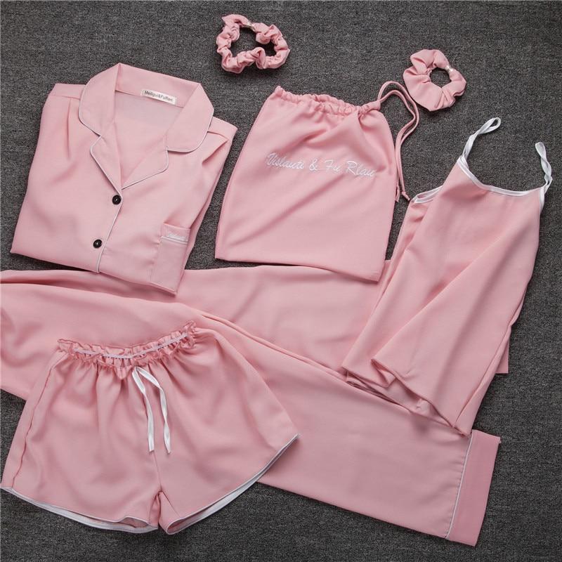 Victoria's Secret Solid Color Seven Sets Of WOMEN'S Pajamas Chiffon Satin Silk Seven Sets Pajamas