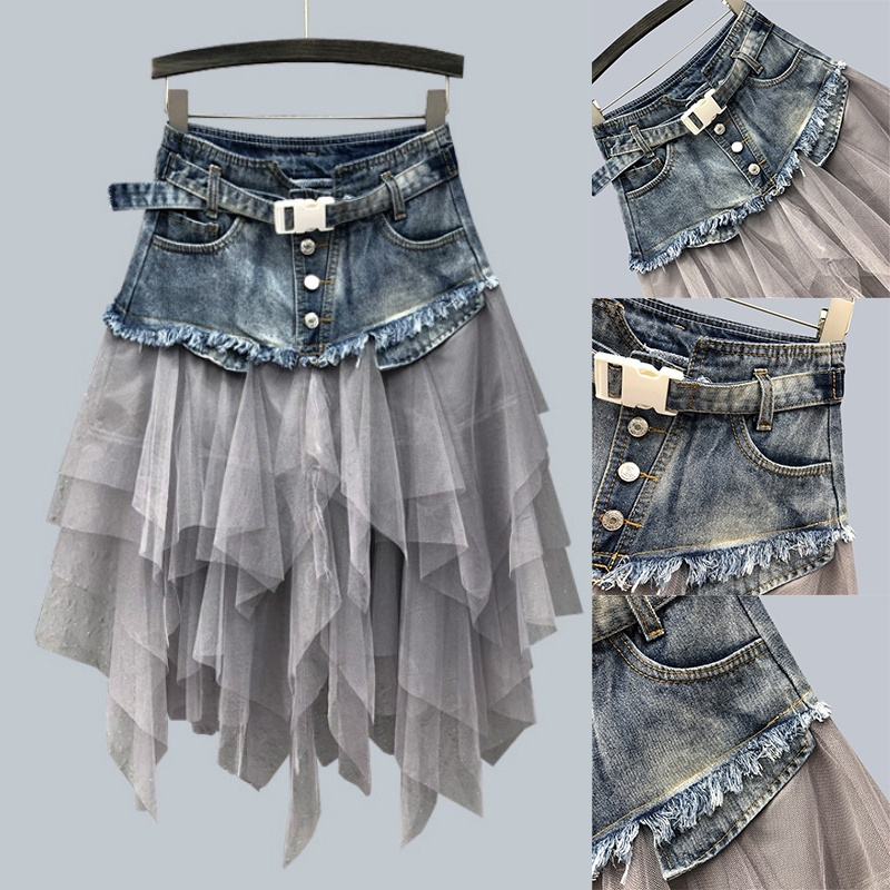 NEW Women Denim Mesh Patchwork Lace Skirt High Waist A Line Asymmetric Frill Tulle Gothic Chic Skirts