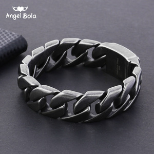 Image 1 - 20mm Wide 316L Stainless Steel Black color Bracelet Boys Wristband Cut Rombo Double Curb Link Buddha Bracelet for Gift Jewelry