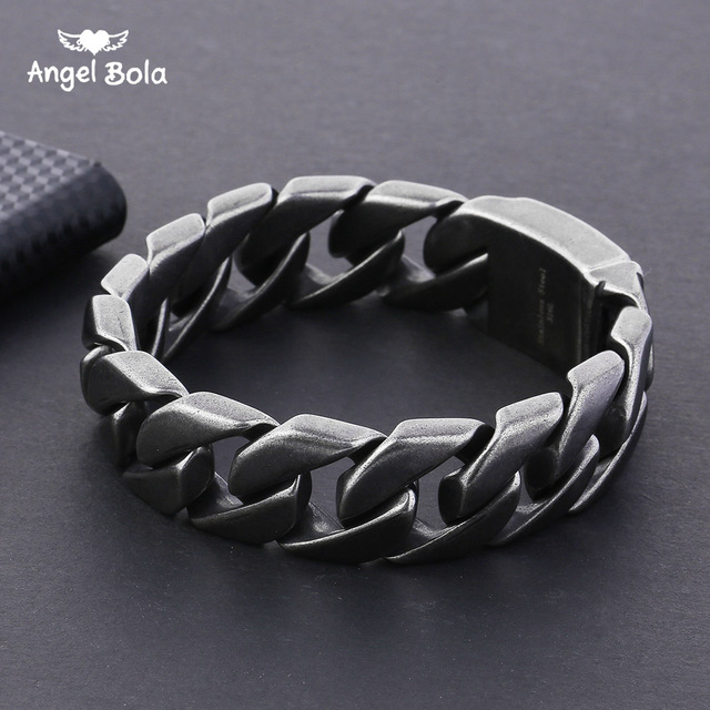 20mm Wide 316L Stainless Steel Black color Bracelet Boys Wristband Cut Rombo Double Curb Link Buddha Bracelet for Gift Jewelry