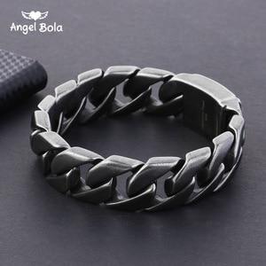 Image 1 - 20mm geniş 316L paslanmaz çelik siyah renk bilezik erkek bileklik Cut Rombo çift Curb bağlantı buda bilezik hediye takı
