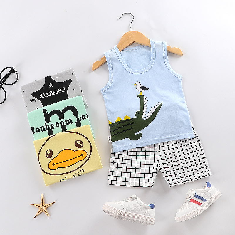 Summer Baby Boy Clothing Suits Sleeveless Casual Baby Girl Clothes Sets Cotton Top+ Pants 2pcs Newborn Clothes