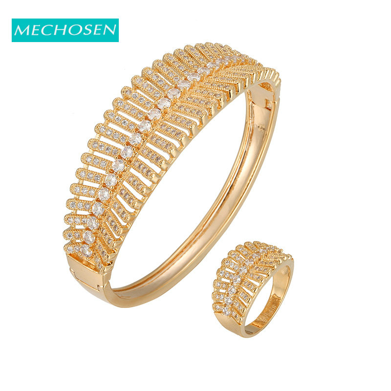 MECHOSEN Brand Luxury Plant Hollow Out Gold Color Jewelry Set Full AAA Cubic Zirconia Ladies Bangle Rings Sets Dress Accessories