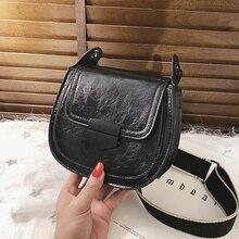 цена на Mini Solid Color PU Leather Saddle Bags For Women 2019 Fashion Solid Crossbody Shoulder Messenger Bag Female Handbags