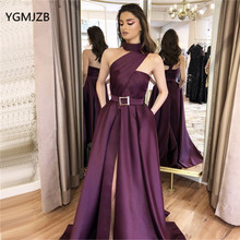 Elegant Simple Satin Evening Dress One Shoulder Sleeveless High Slit Long Formal Dress Evening Prom Gown Robe De Soiree high slit long sleeveless cami dress