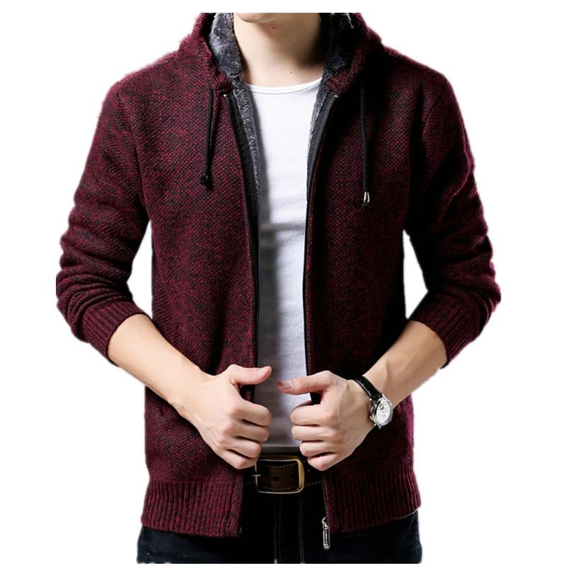 Fashion Men's Sweater Coat Thicken Sweater Winter Male Warm Cashmere Slim Fit Zipper Casual Men Sweater Knitted Coat