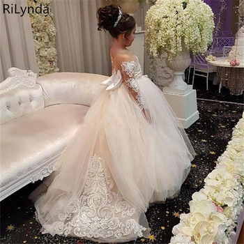 Flower Girl Dress For Wedding Tulle Long Sleeve Ball Gown Lace Appliques Little Gowns Girls First Holy Communion Dresses tulle glitz pageant dresses long flower girls dresses for wedding gowns ball gown girls first communion mother daughter dresses