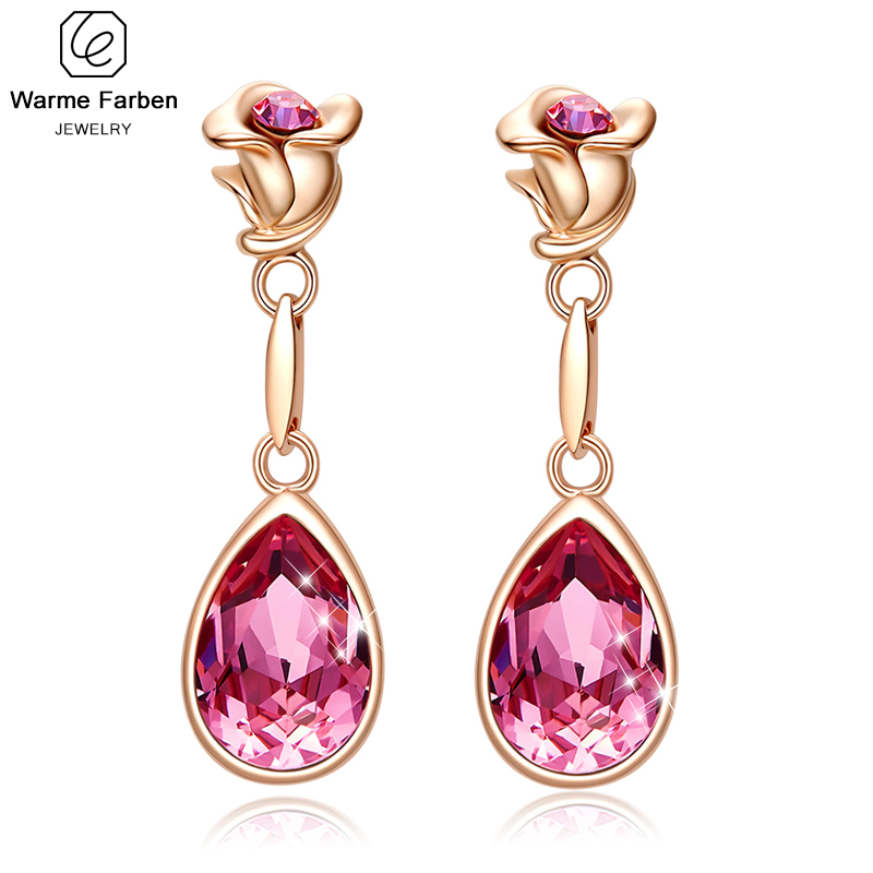 Embellished with Crystal from Swarovski <font><b>Elegant</b></font> Rose Crystal Long <font><b>Drop</b></font> <font><b>Earrings</b></font> Fine <font><b>Jewelry</b></font> Rose <font><b>Gold</b></font> Party <font><b>Earring</b></font> Brinco image