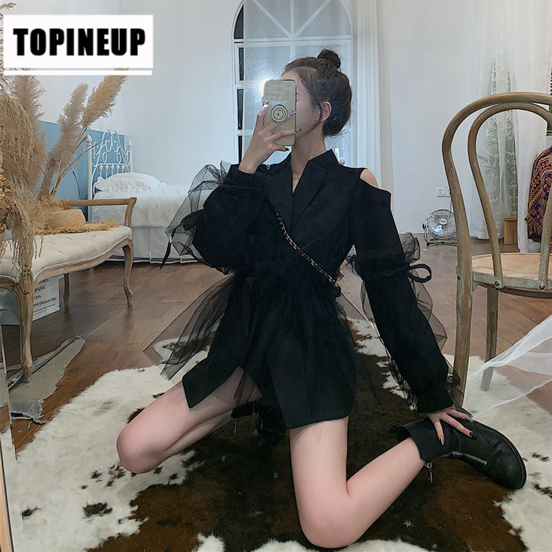 Women's Lapel Sexy Long Sleeve Pocketed Belted Off-the-shoulder Waisted  Female Jacket