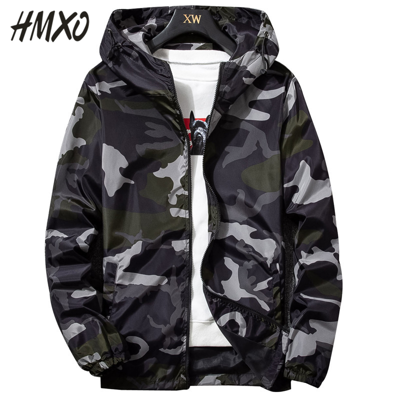 HMXO 2020 New Spring Fashion Men's Camouflage Casual Hooded jacket Streetwear Style Male Hooded Coats Men Clothing Size M-5XL