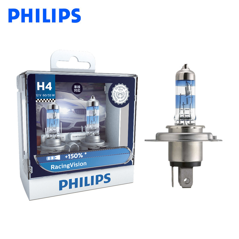 Philips H4 9003 12V Racing Vision +150% More Bright Car Headlight Hi/lo Beam Halogen Lamp Rally Performance ECE 12342RV S2, Pair
