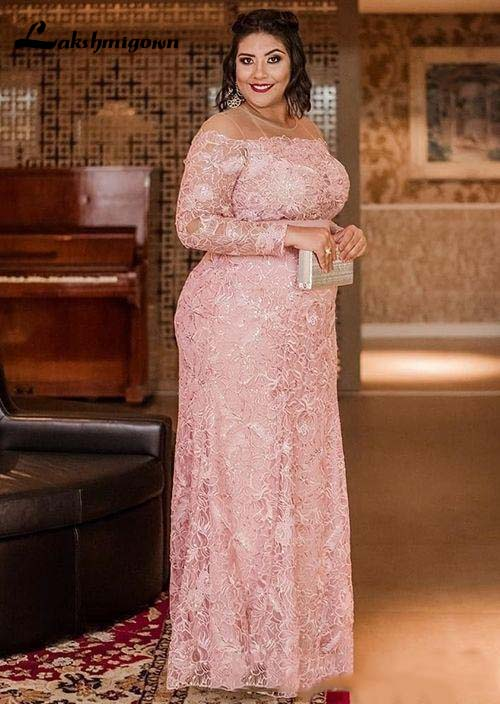 Vintage Pink Lace Mother Of The Bride Dresses 2020 Prom Party Gown Wedding Guest Plus Size Maxi Dress