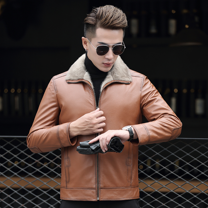 Genuine Leather Jacket Men Real Mink Fur Liner Winter Sheepskin Coat Mens Mink Jackets Cuero Genuino AD-ZD70903 YY321