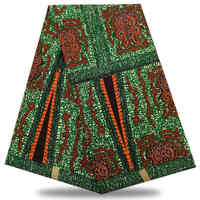 Peach High Quality African prints fabric embroidered Dutch wax Nigerian Dutch wax Lace 6 yards/pcs 100% cotton XFE0-20