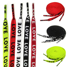1 Pair Double-sided Printing Letters Shoelace High-end Polyester Flat Fashion Shoelaces Green White Black Red DIY Accessories